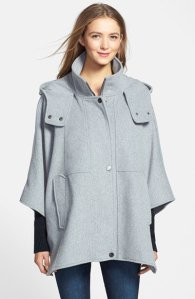 DKNY- 'Blythe' Hooded Wool Blend Cape $158.00