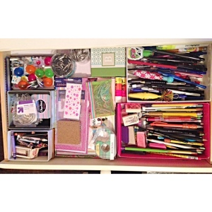 Inside my small drawer I keep the rest of my school supplies such as pens, pencils, glue sticks, paper clips, etc. (The other 3 drawers in my desk are just filled with textbooks and old school notebooks, which I thought was nothing interesting so I didn't include pictures of them).