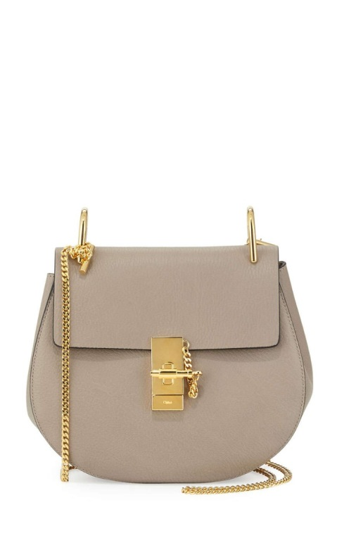 Chloe Drew Small Chain Saddle Bag, Motty Gray $1,850
