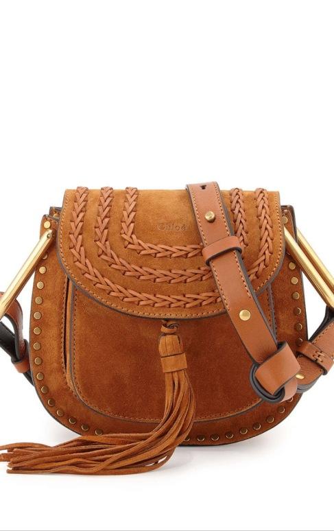 Chloe Hudson Mini Suede Shoulder Bag, Caramel $1,890