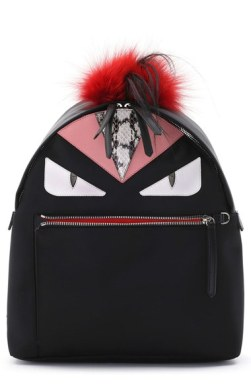 Fendi 'Mini Monster' Genuine Fox Fure, Genuine Goat Fur and Genuine Snakeskin Trim Nylon Backpack