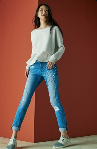 STS Blue Taylor Tomboy Distressed Embellished Boyfriend Jeans