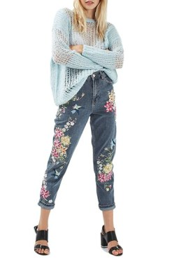 Toyshop Garden Embroidered Mom Jeans